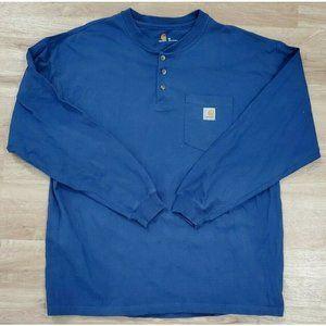 Carhartt Mens Henley Long Sleeve Blue Shirt XL